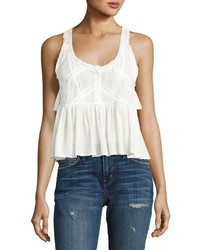 Current/Elliott The Lace Sleeveless Cotton Top White