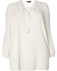 Dp Curve Ivory Ruffle Collared Blouse