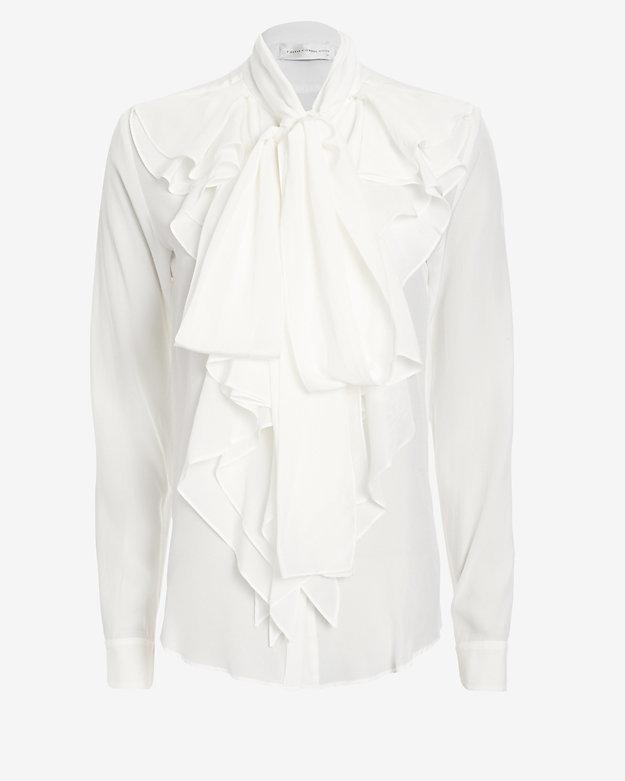 White Long Sleeve Ruffle Blouse 48
