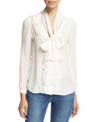 Ruffle tie neck blouse white medium 422617