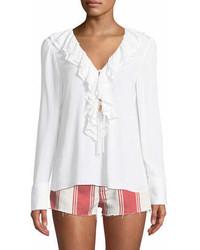 Ruffle v neck long sleeve blouse medium 7013142