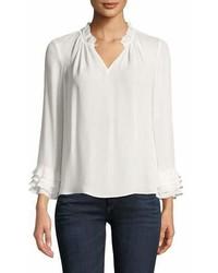 V neck long sleeve silk georgette blouse w ruffled trim medium 7013143