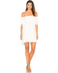 Krisa Off Shoulder Ruffle Dress In White