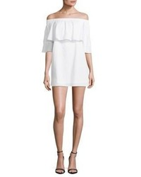 Lucca Couture Poplin Ruffled Off The Shoulder Cotton Dress