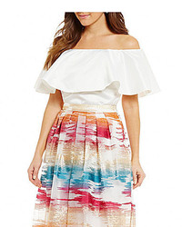 Belle Badgley Mischka Nance Off The Shoulder Ruffle Top