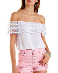 f457130c024d6 Women s White Ruffle Off Shoulder Tops from Charlotte Russe ...
