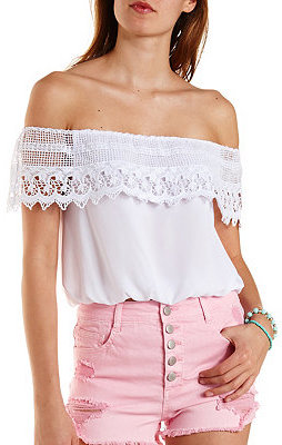 7f2169aecf4 ... White Ruffle Off Shoulder Tops Charlotte Russe Crochet Off The Shoulder  Flounce Top ...