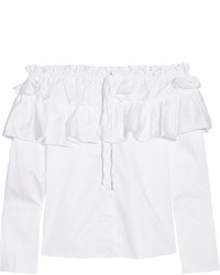 Opening Ceremony Mercer Ruffled Off The Shoulder Stretch Cotton Poplin Top White