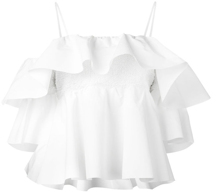 MSGM Off Shoulder Ruffled Blouse