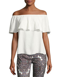 7 For All Mankind Off The Shoulder Ruffled Blouse White