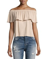 Current/Elliott The Ruffle Off The Shoulder Top White