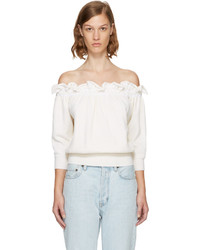 3.1 Phillip Lim White Ruffled Off The Shoulder Top