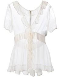 Dolce gabbana ruffle trim sheer blouse medium 227117