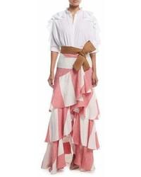 Johanna Ortiz Bandelier Ruffle Sleeve Poplin Blouse Bodysuit