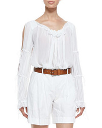 Michl kors ruffled peasant blouse optic white medium 227115