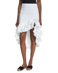 Caroline Constas Pencil Ruffled High Low Skirt