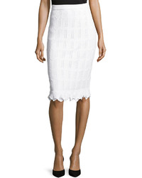 St. John Santana Knit Pencil Skirt W Ruffled Hem White