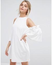 Boohoo Cold Shoulder Ruffle Sleeve Shift Dress