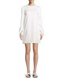Rosetta Getty Crewneck Ruffle Sleeve Shift Stretch Ottoman Mini Dress
