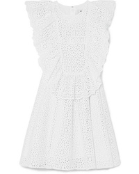 MSGM Ruffled Broderie Anglaise Cotton Mini Dress