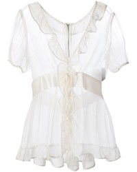 Dolce & Gabbana Ruffle Trim Sheer Blouse