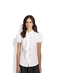 Red valentino poplin short sleeve ruffle front blouse white medium 443197