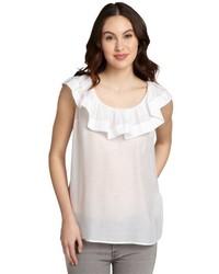 RED Valentino White Cotton Silk Blend Ruffle Sleeveless Blouse Shirt