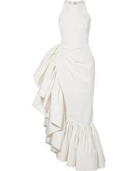 Rosie Assoulin Whoopsy Daisy Asymmetric Ruffled Silk Charmeuse Gown