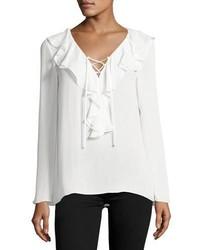 Kenza ruffled lace up blouse soft white medium 1328754
