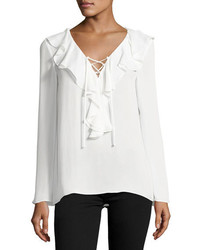 Kenza ruffled lace up blouse soft white medium 1328765