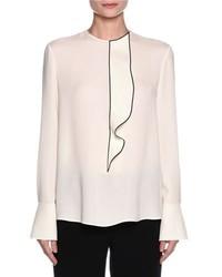 Ruffled button back tuxedo blouse off white medium 1328757