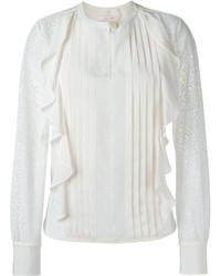 See by chloe see by chlo embroidered panel ruffled blouse medium 1328762