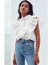 Kimchi blue kelsey ruffle button down shirt medium 5209527