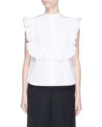 Helmut Lang Ruffle Bib Sleeveless Cotton Poplin Shirt