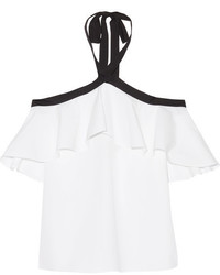 Alice + Olivia Alice Olivia Alyssa Ruffled Cotton Poplin Halterneck Top White