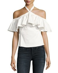 Rebecca Taylor Cold Shoulder Halter Neck Ruffle Top White