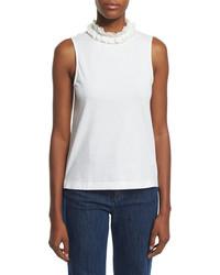 See by Chloe Sleeveless Cotton Ruffle Collar Top White