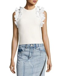 3.1 Phillip Lim Sleeveless Fitted Cotton Top W Ruffled Trim
