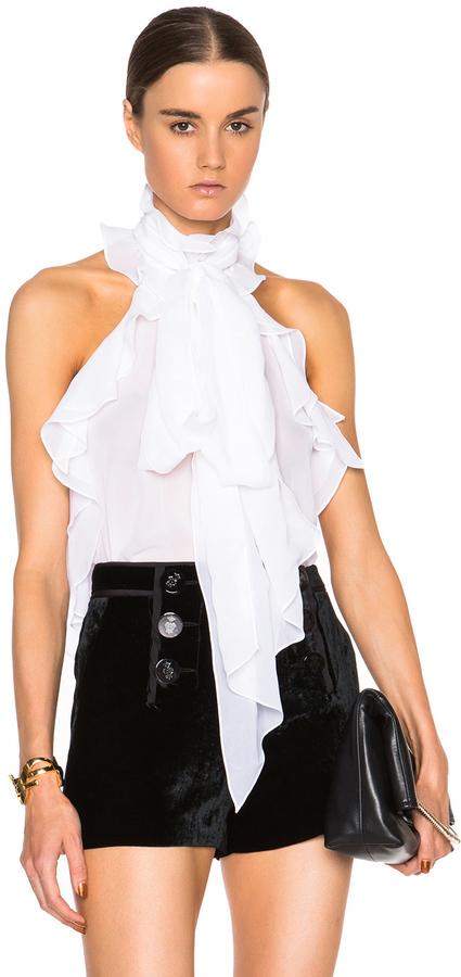 24dc4ef06c6161 Emilio Pucci Sleeveless Ruffle Blouse, $1,254 | Forward By Elyse ...