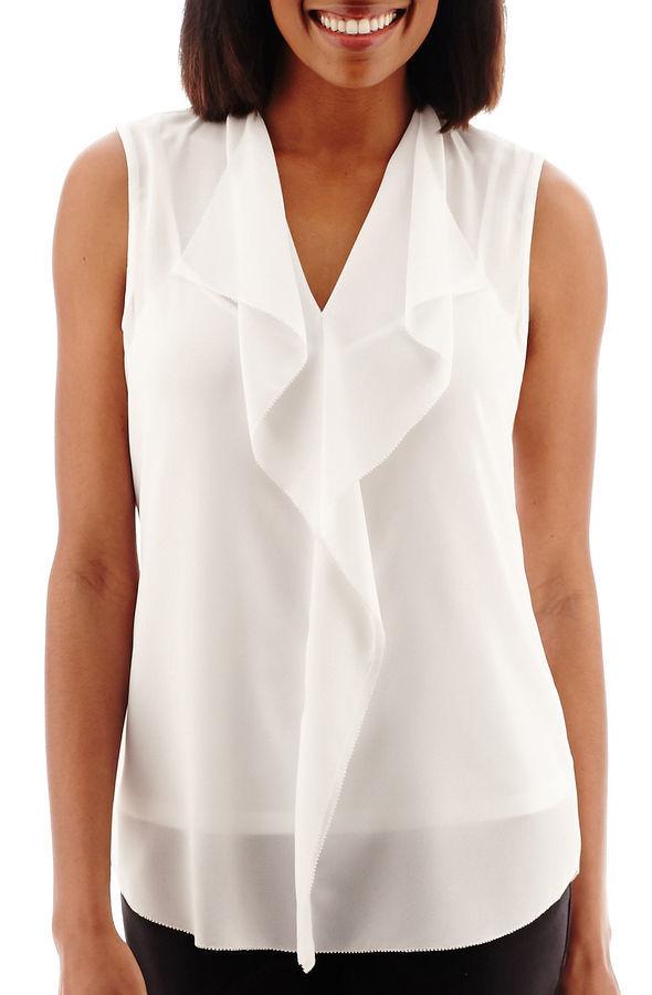 273460b34b206e Sleeveless Ruffle Blouse. White Ruffle Sleeveless Top by Liz Claiborne