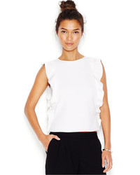 Bar III Sleeveless Ruffle Detail Scuba Top