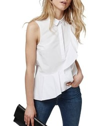 Topshop Sleeveless Ruffle Shirt