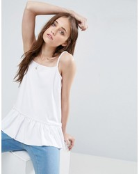 Asos Cami Top In Ponte With Ruffle And Square Neck