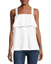 MICHAEL Michael Kors Michl Michl Kors Cross Back Ruffled Tank White
