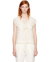 See by Chloe See By Chlo Off White Ruffle Tank Top