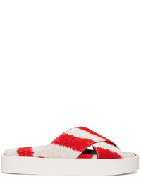 MSGM Red And Off White Criss Cross Sandals