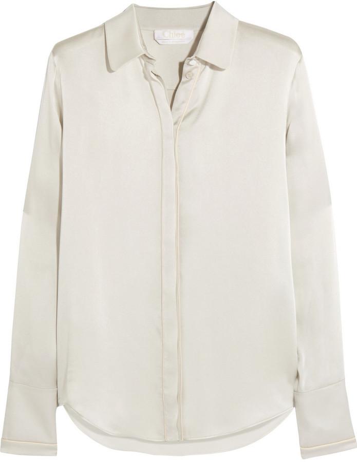 d191f5f0cf3035 Chloé Silk Satin Blouse Ivory, $1,350 | NET-A-PORTER.COM | Lookastic.com