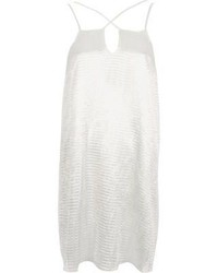 White textured satin cross strap slip dress medium 5375515