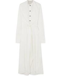 White Satin Shirtdress