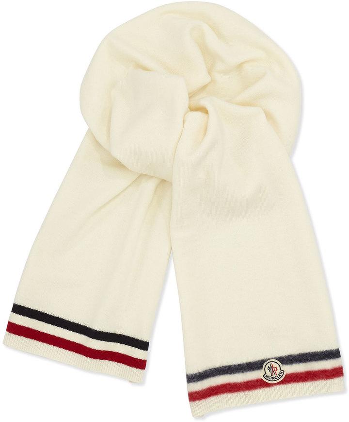 ... Moncler Reversible Wool Logo Scarf White ...